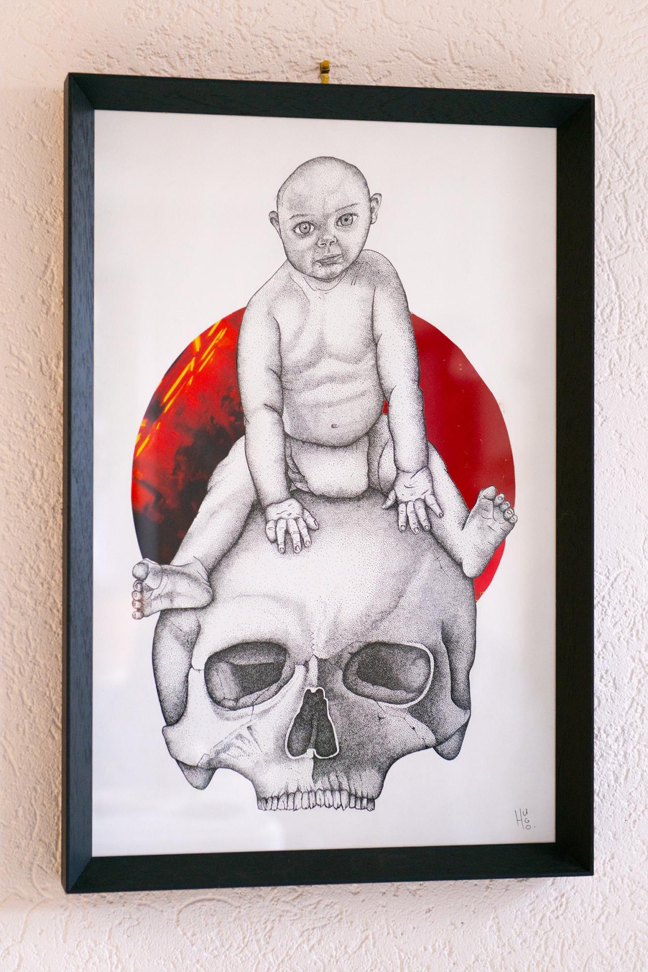 Baby on skull