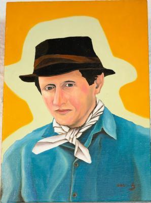 Peinture à l'huile - Homme au chapeau
